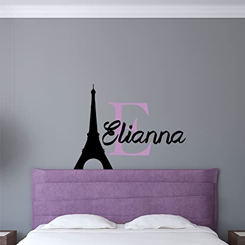 Custom Name Paris Wall Decal - Boys Girls Personalized Name Eiffel Tower  Wall Sticker - Custom Name Sign - Custom Name Stencil Monogram - Boys Girls  ...