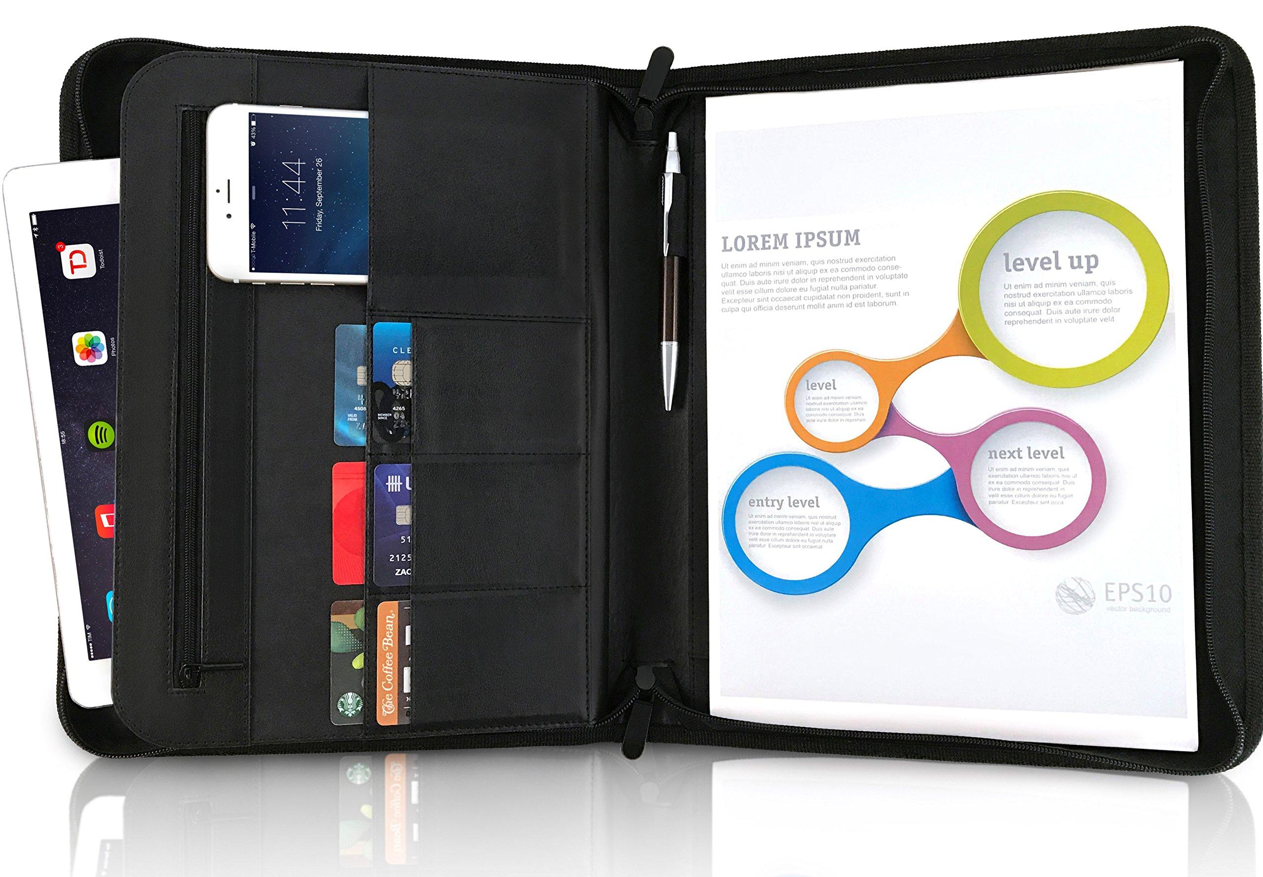 A4 Ringbinder Folder Folio with Zipper – 3 Ring Binder Portfolio Case, File Personal Organizer, Conference Presenter, CV, Art Document Paper Travel Folders, Faux Leather Slim Office Notepad Zip Holder