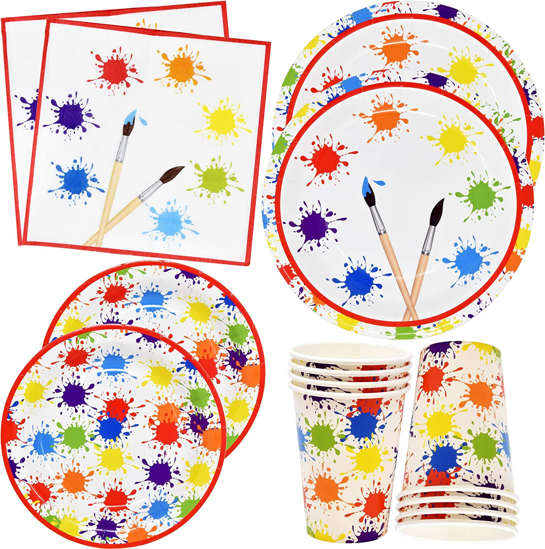 "Artist Painting Party Supplies Disposable Tableware Set 24 9"" Paper Plates 24 7"" Plate 24 9 Oz Cup 50 Lunch Napkin for Art Pallet Painter Brush Paint Splatter Splash Colorful Theme Birthday Decoration"