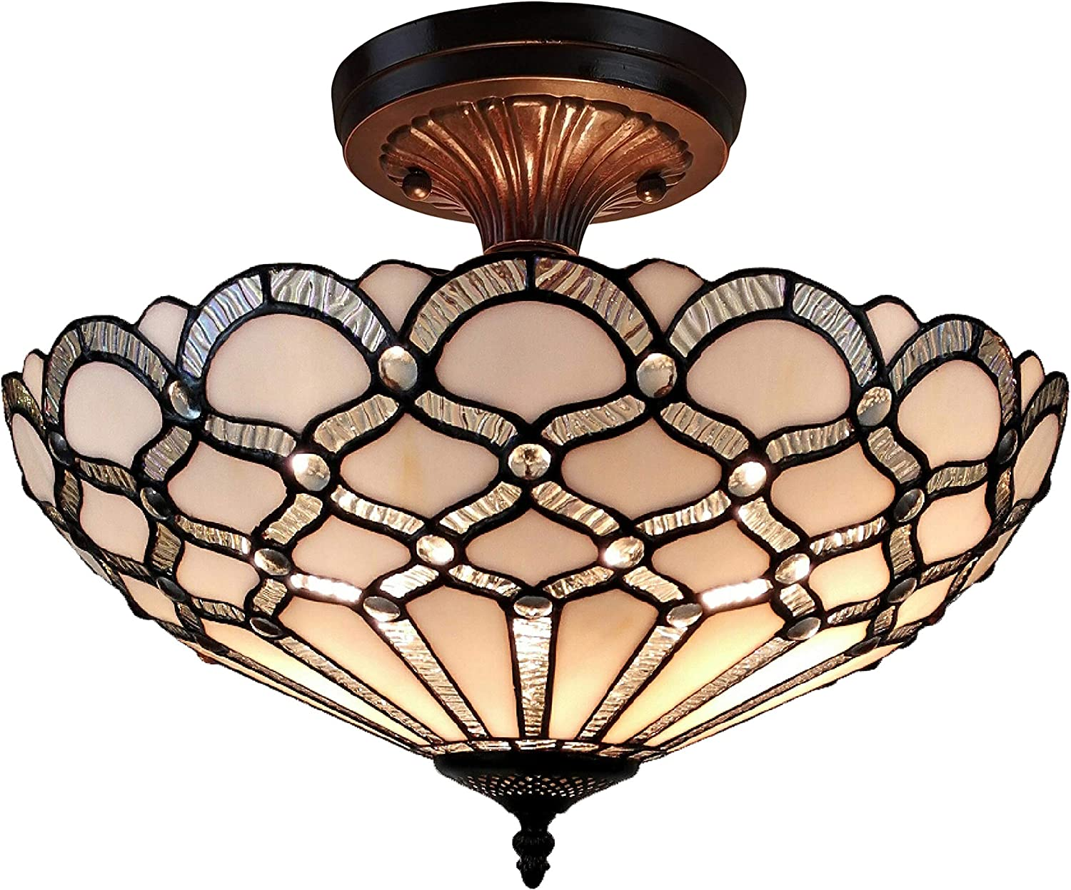 """Amora Lighting Tiffany Style Ceiling Fixture Lamp Jeweled 17"""" Wide Stained Glass White Antique Vintage Light Decor Living Room Bedroom Kitchen Hallway Gift AM108CL17B"""