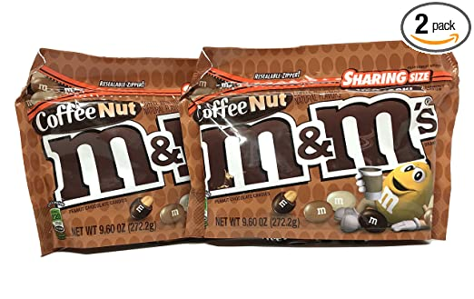 M&Ms Peanut Special (Coffee Nut) Flavors 9.6 oz Resealable Zipper Bags Sharing Size (Pack of 2)