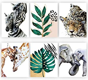Safari Nursery Wall Art Set of 6 |Size 8