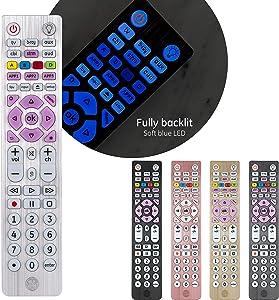 GE Backlit Universal Remote Control for Samsung, Vizio, Lg, Sony, Sharp, Roku, Apple TV, Smart TVs, Streaming Players, Blu-Ray, DVD, Master Volume Control, 6-Device, Silver, 37038 (Renewed)