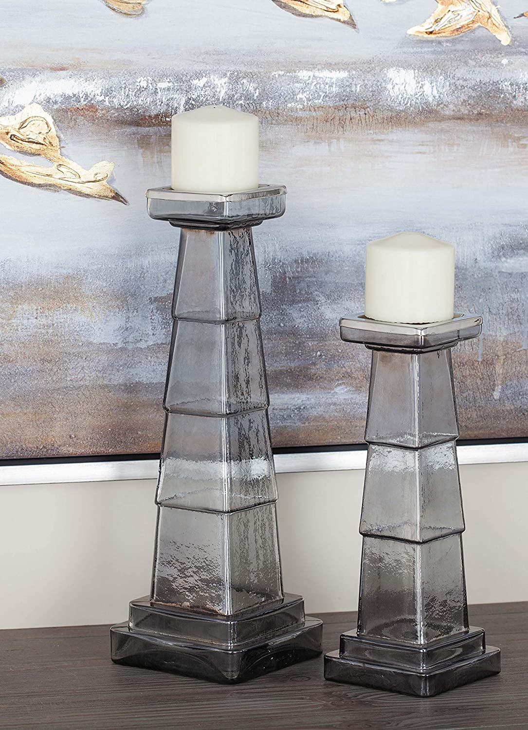 Clear Deco 79 24676 Lattice-Patterned Glass Candle Holders 9 x 12 Set of 2