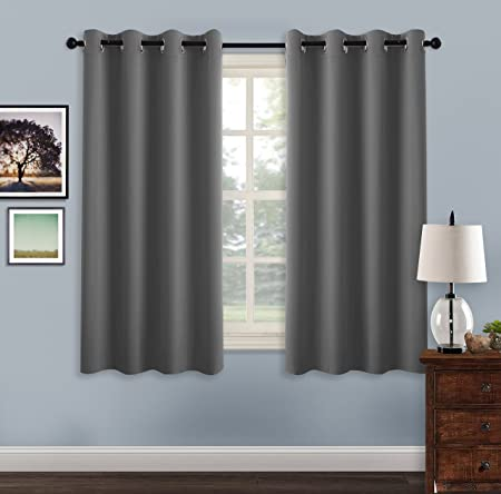 PONYDANCE Thermal Insulated Eyelet Blackout Curtains Short Blackout Curtains  Short Curtains Draperies For Living Room Bay