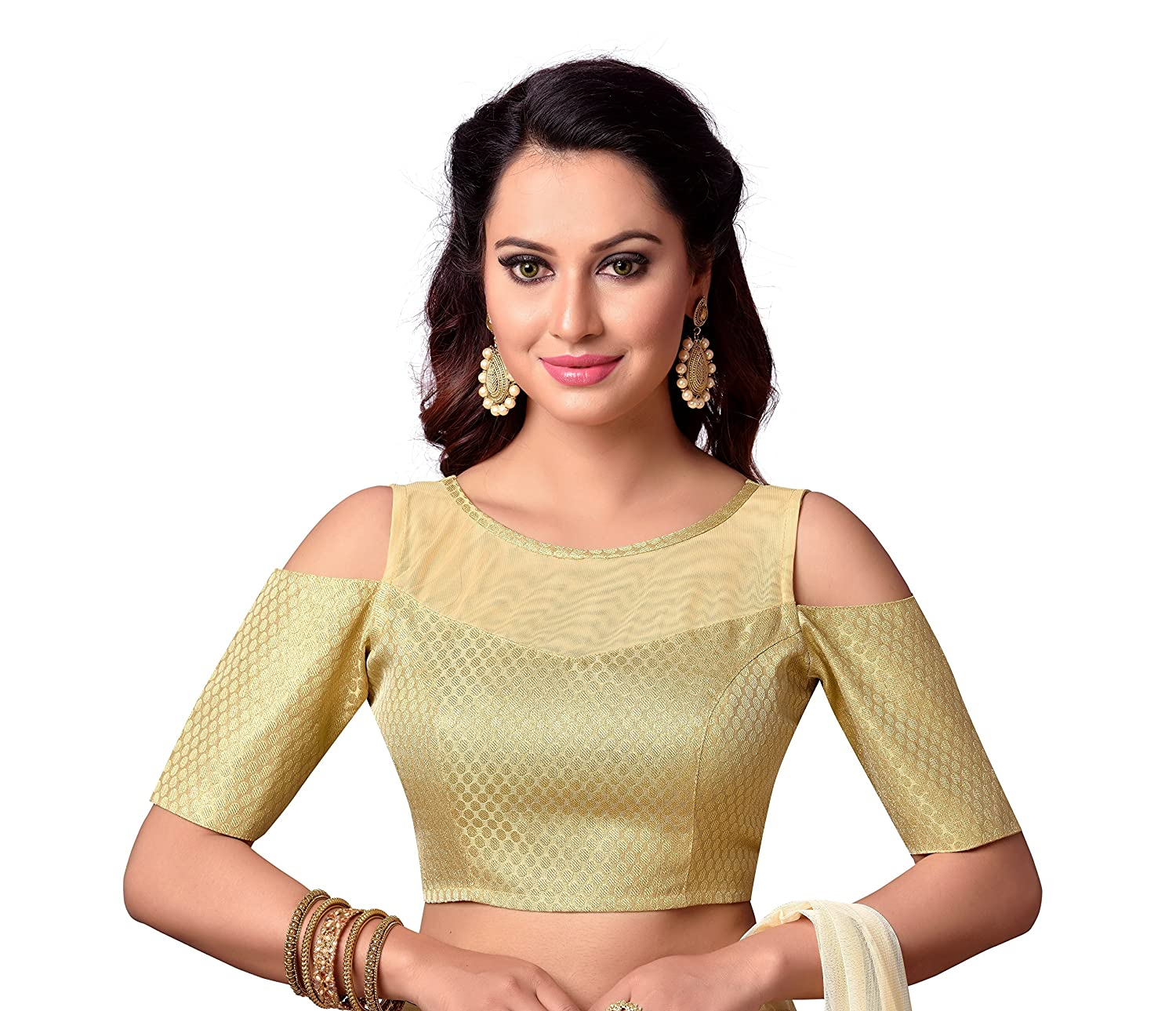 1944e32c612dda STUDIO SHRINGAAR GOLDEN BROCADE COLD SHOULDER READYMADE SAREE BOAT NECK  BLOUSE WITH NET YOKE AND ELBOW LENGTH SLEEVES  Amazon.in  Clothing    Accessories