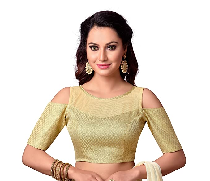 74ef24ede2a104 Studio Shringaar Brocade   Georgette Saree Blouse(SY1876 Gold XX-Small)