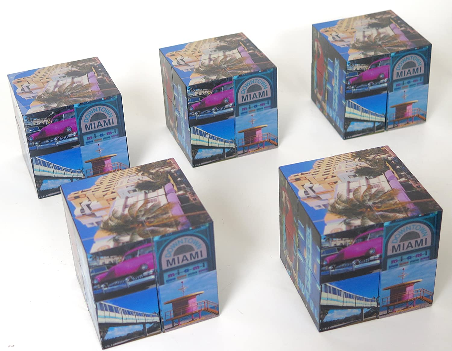 Miami souvenir Photo collage Novelty cube 5 pack. As it unfolds multiple scenes and landmarks are revealed.