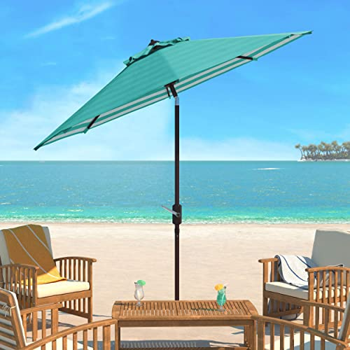Safavieh PAT8007E Collection Athens Dark Green and White Inside Out Striped 9Ft Crank Outdoor Auto Tilt Umbrella