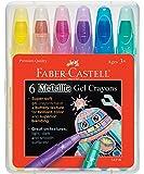 Faber-Castell Crayons–Super Suave de Gel para Brilliant Color y una Mezcla Superior–Funciona en toneladas de Texturas, 6 Unidades - Colores metálicos