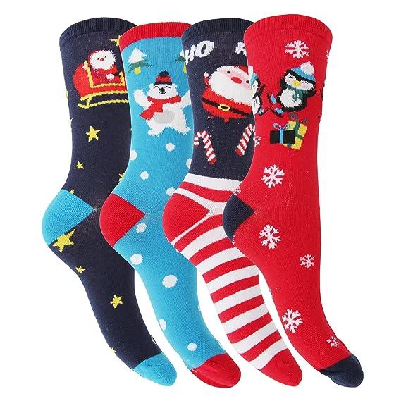 Floso - 4 pares de calcetines navideños (37-41 EU/Azul Marino/