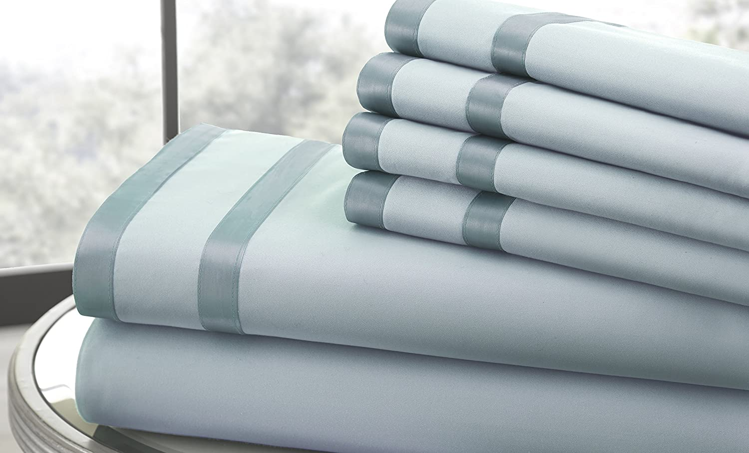 Queen, Sterling Blue//Celestial Blue Amrapur Overseas Ultra-Soft 1000 Thread Count 6-Piece Cotton Rich Bed Sheet Set with Double Satin Band