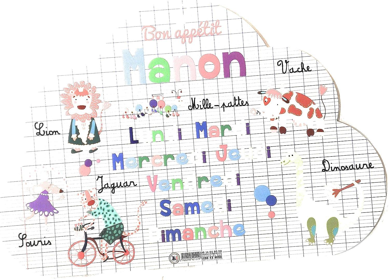 Set de Table pr/énom Forme Nuage- Manon- Recto /& Verso AUTRES Lire et dire Dessins Animaux - Bon app/étit 29x41 cm