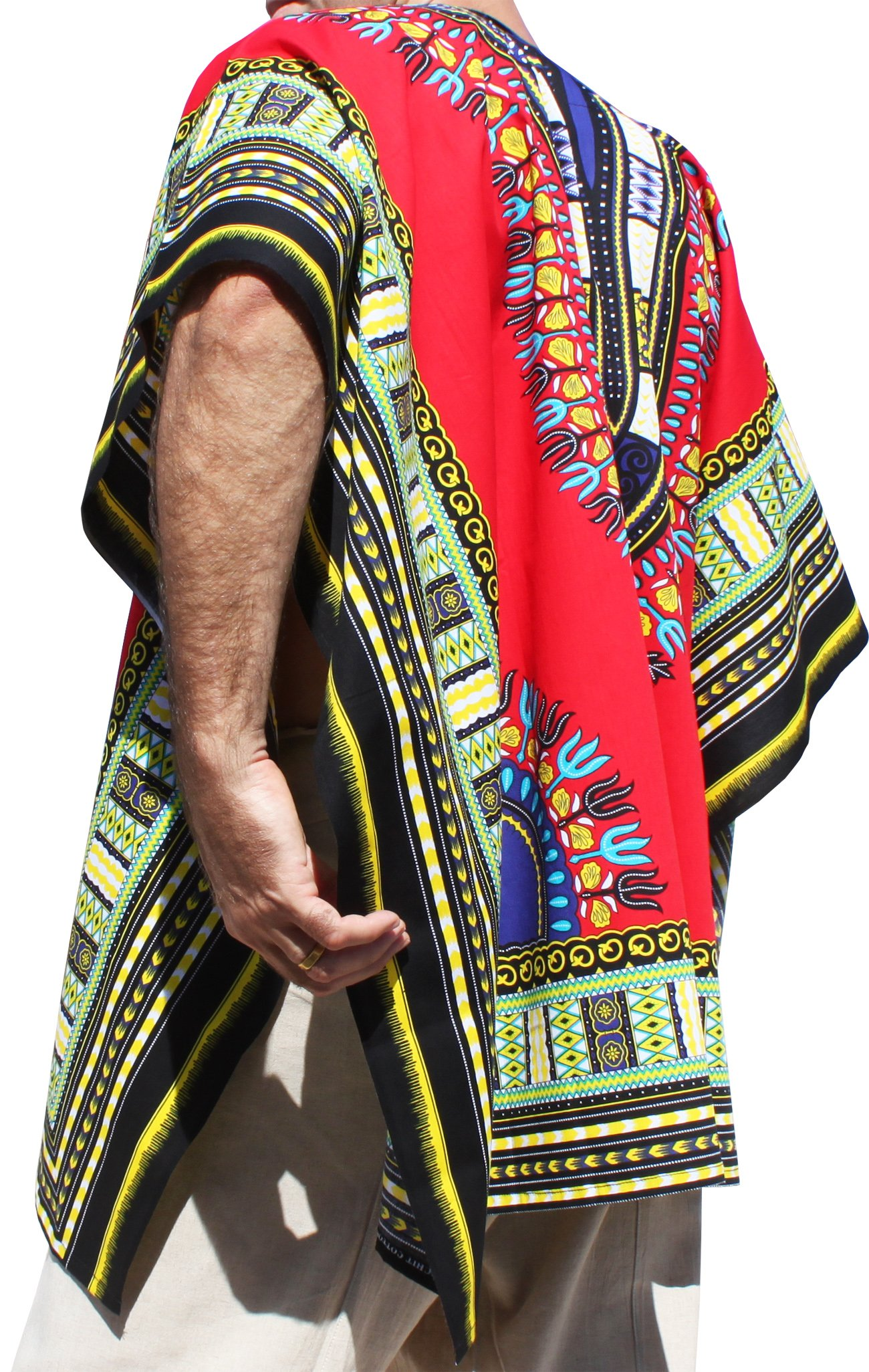 RaanPahMuang Brand Throw Over Poncho Top (Fully Open Sides) African Dashiki Art, Red by RaanPahMuang (Image #2)
