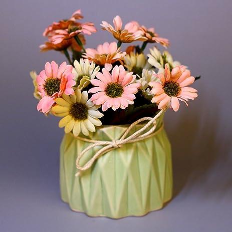 Amazon Vgia Artificial Flowers Daisy In Ceramic Vase