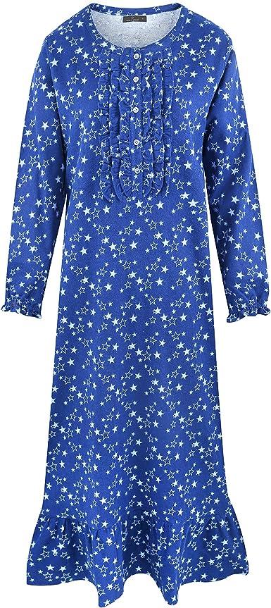 Noble Mount Camisa Larga de Dormir de Franela de Algodón para Mujer