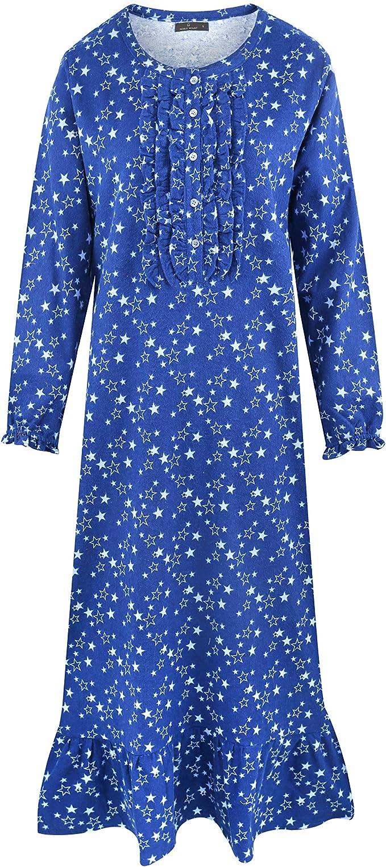 Noble Mount camisón largo para mujer – 100% algodón franela ...
