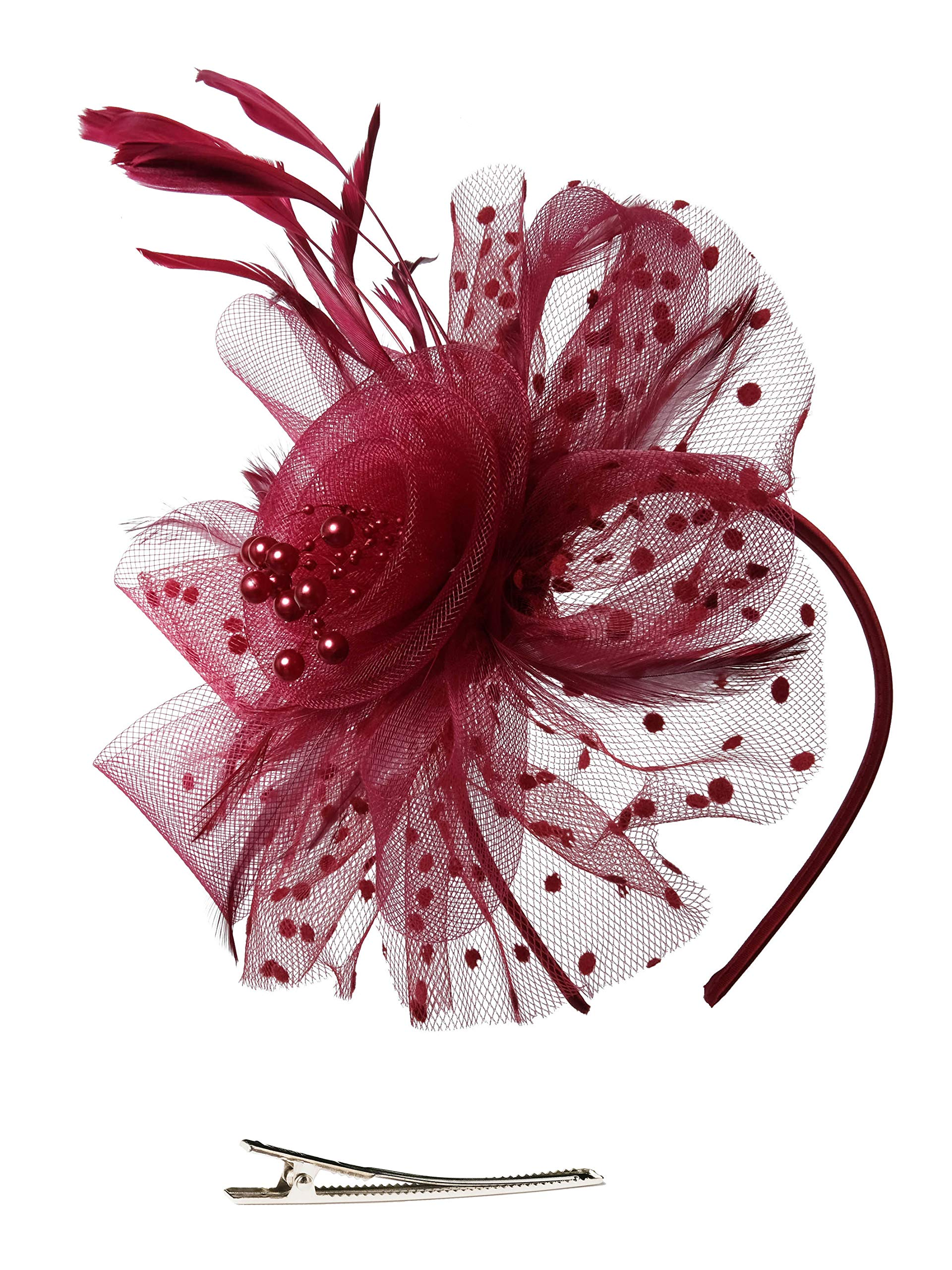 Zivyes Fascinators Hat for Women Tea Party Headband Kentucky Derby Wedding Cocktail Flower Mesh Feathers Hair Clip (A-Burgundy)