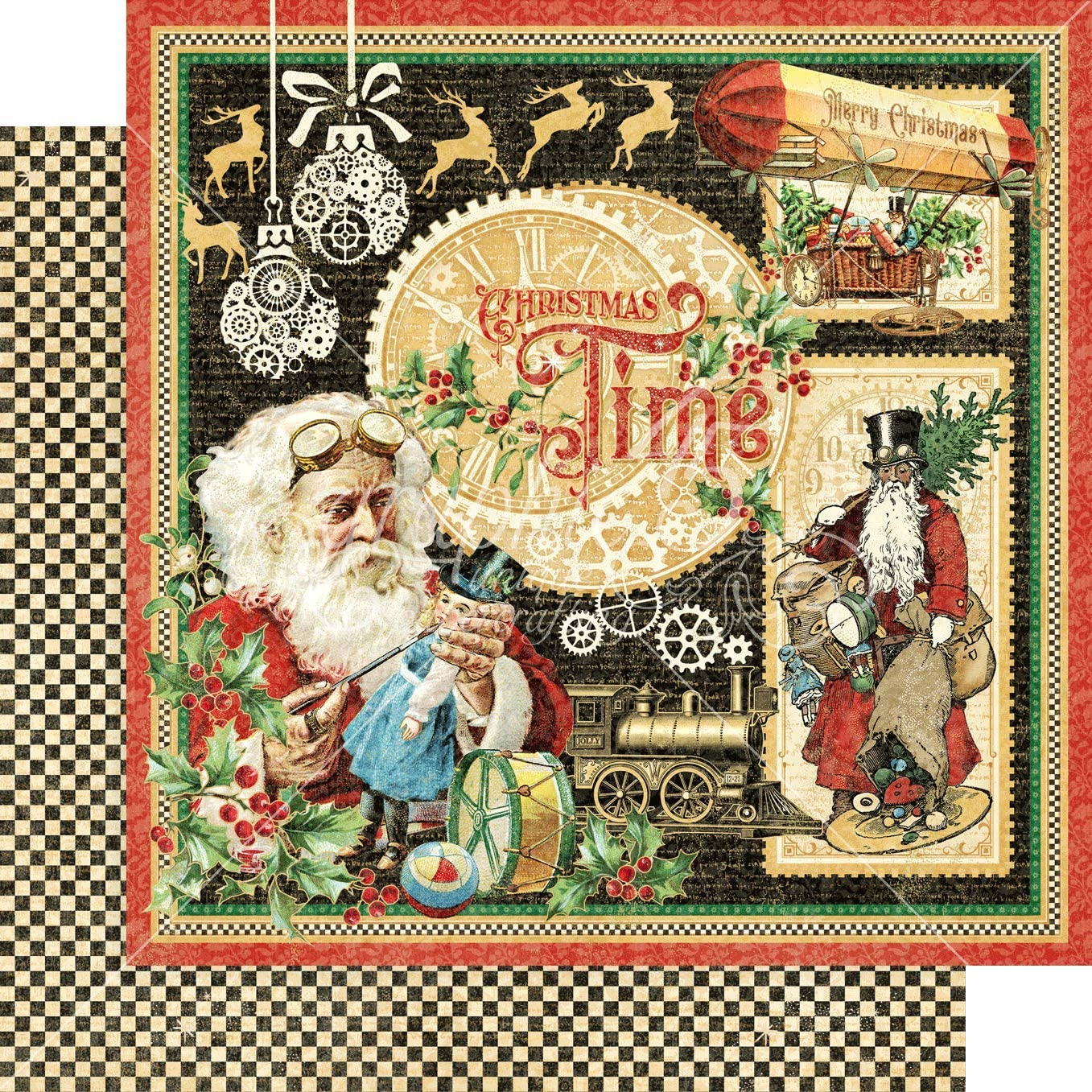 2 Items 12x12 Decorative Papers Graphic 45 Christmas Time Collection Pack and Patterns /& Solids Pad