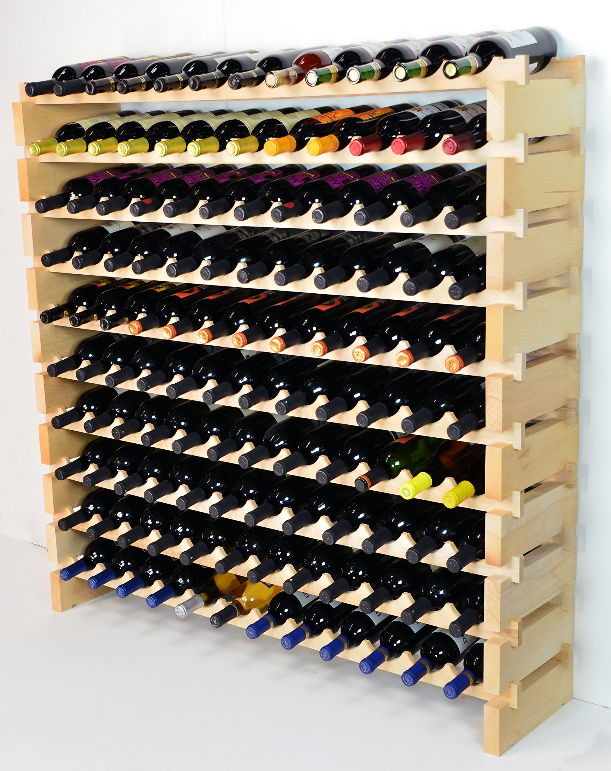 Modular Wine Rack Beechwood 48-144 Bottle Capacity 12 Bottles Across up to 12 Rows Newest Improved Model (120 Bottles - 10 Rows) by sfDisplay.com,LLC. (Image #2)