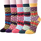 Pack of 5 Womens Thick Knit Warm Casual Wool Crew Winter Socks(fits shoe size 5-10)