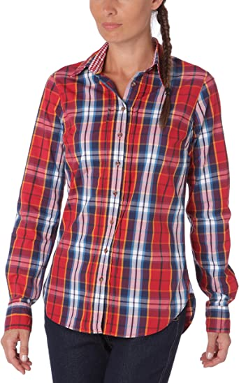 Tommy Hilfiger - Blusa a Cuadros de Manga Larga para Mujer, Talla 34, Color (Apple Red/Multicolor): Amazon.es: Ropa y accesorios