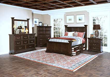 New Classic 00-007-35N Timber City 5-Piece Bedroom Set with Wood Panel  Queen Storage Bed, Dresser, Mirror, Two Nightstands