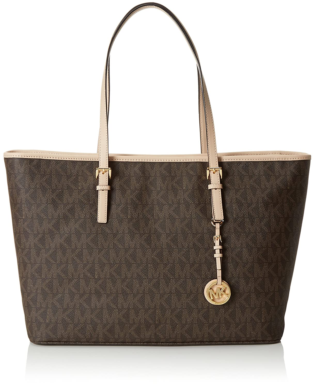 ff94223eaaf5 Amazon.com: Michael Michael Kors Jet Set Medium Multifunctional Tote Brown: Michael  Kors: Shoes