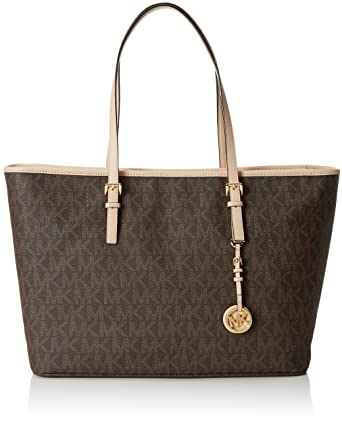 628228a10ba3 Amazon.com: Michael Michael Kors Jet Set Medium Multifunctional Tote Brown: Michael  Kors: Shoes