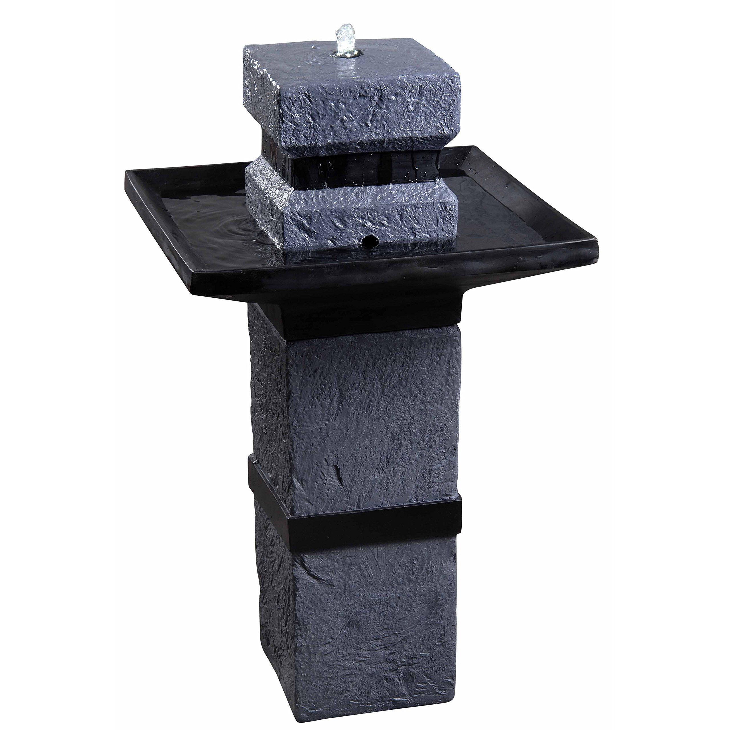 Kenroy Home 50028DST Monolith Outdoor Solar Fountain, Dark Stone Finish