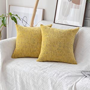 Home Brilliant Decorative Throw Pillow Covers Accent Pillow Case Striped Chenille Plush Velvet Couch Cushion Cover for Sofa, 2 Pack, 18x18 inches (45cm), Sunflower Yellow