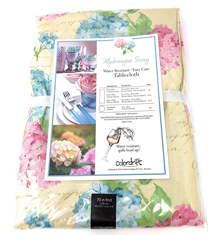 Spring Easter Colordrift Hydrangea Story Fabric Tablecloth 60x84