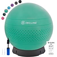 Incline Fit Anti-Burst Exercise Ball, Base & Pump (55, 65, 75 cm) for Balance, Stability, Yoga, Pilates & Fitness; Swiss Ball Stand, Alternative to Office Desk Chair or Pregnancy Birthing Ball