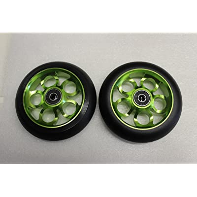 R4 New Scooter 110MM Aluminum Core Wheelset W/ABEC 9 Bearings, Black & Green : Sports & Outdoors