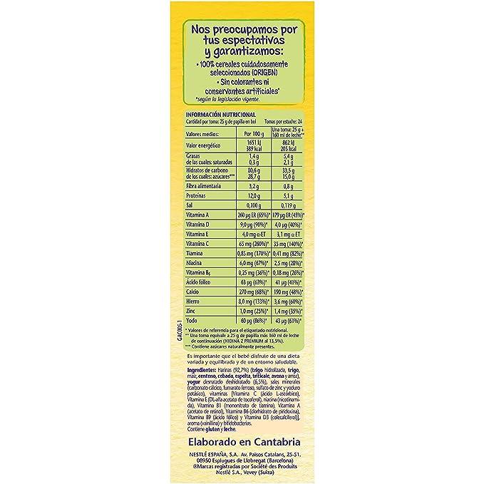 NESTLÉ Papilla 8 cereales Yogur - Alimento para Bebés: Amazon.es: Amazon Pantry