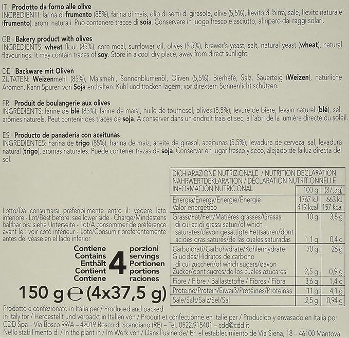 Villa Sapori Pan Crujiente Italiano | Schiacciatina con Aceitunas, caja de 1,2 kg (pack de 8 x 150 g)