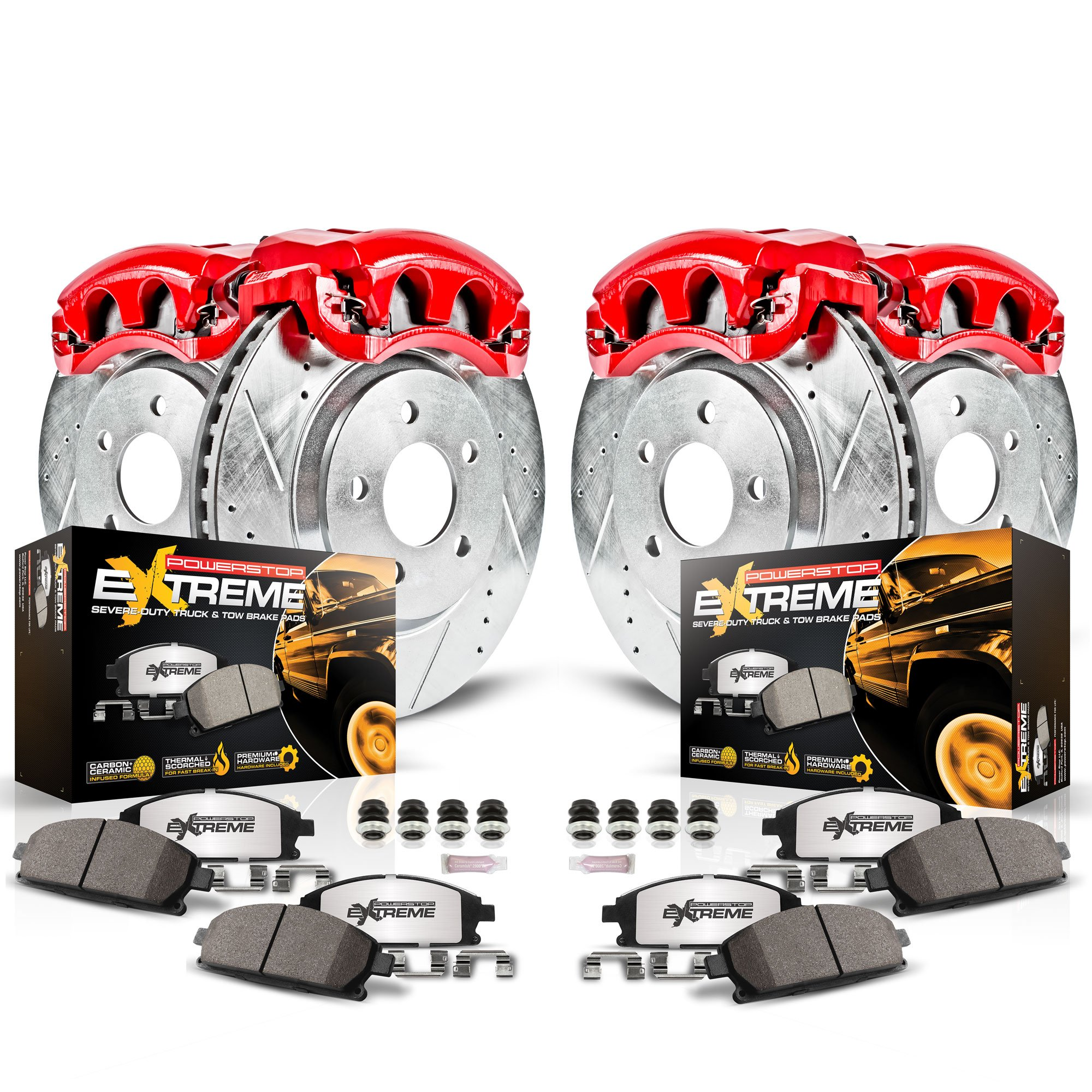 Power Stop KC1906-36 Front & Rear Z36 Truck and Tow Brake Kit with Calipers