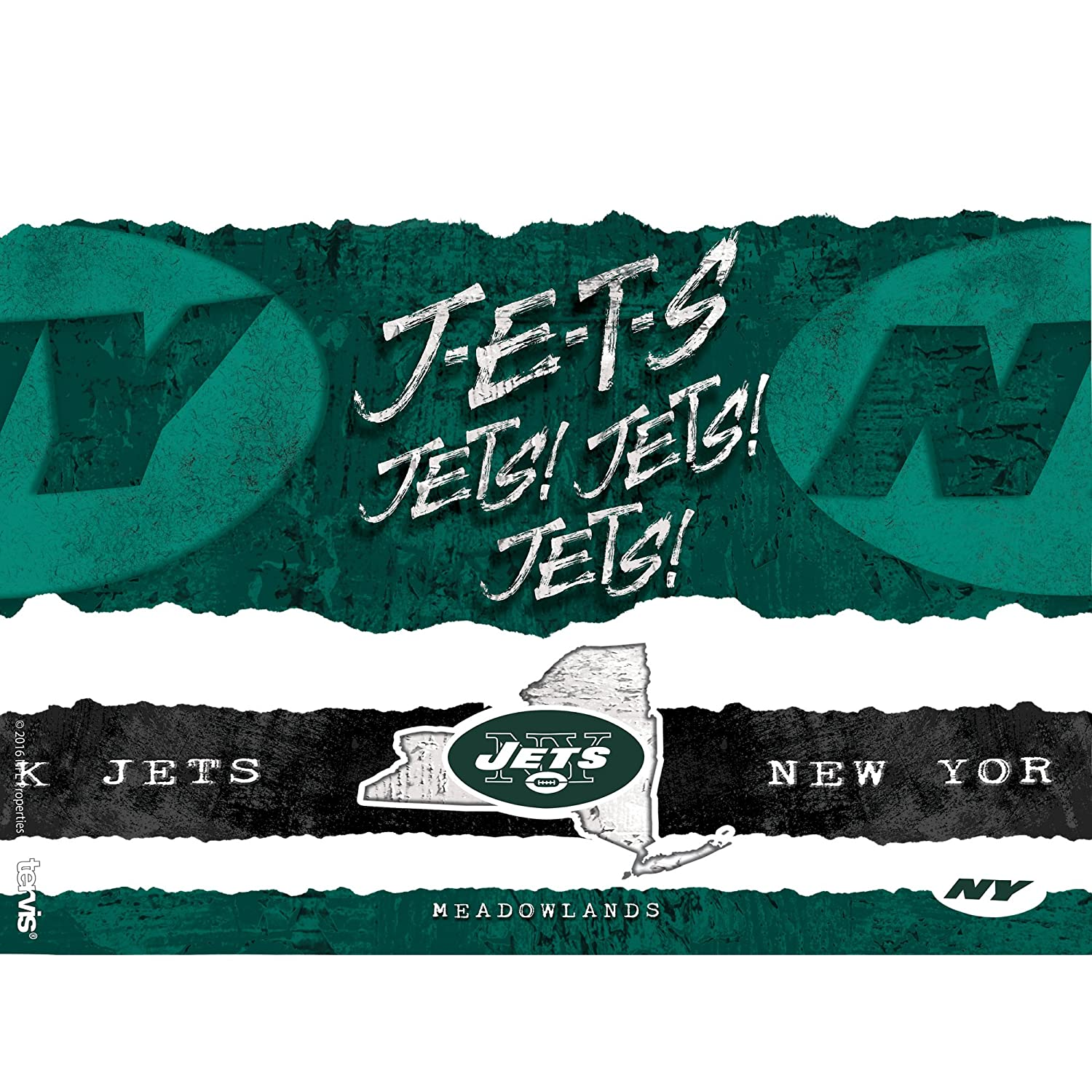 Clear Tervis 1227672 NFL New York Jets NFL Statement Tumbler with Wrap and Hunter Green Lid 24oz