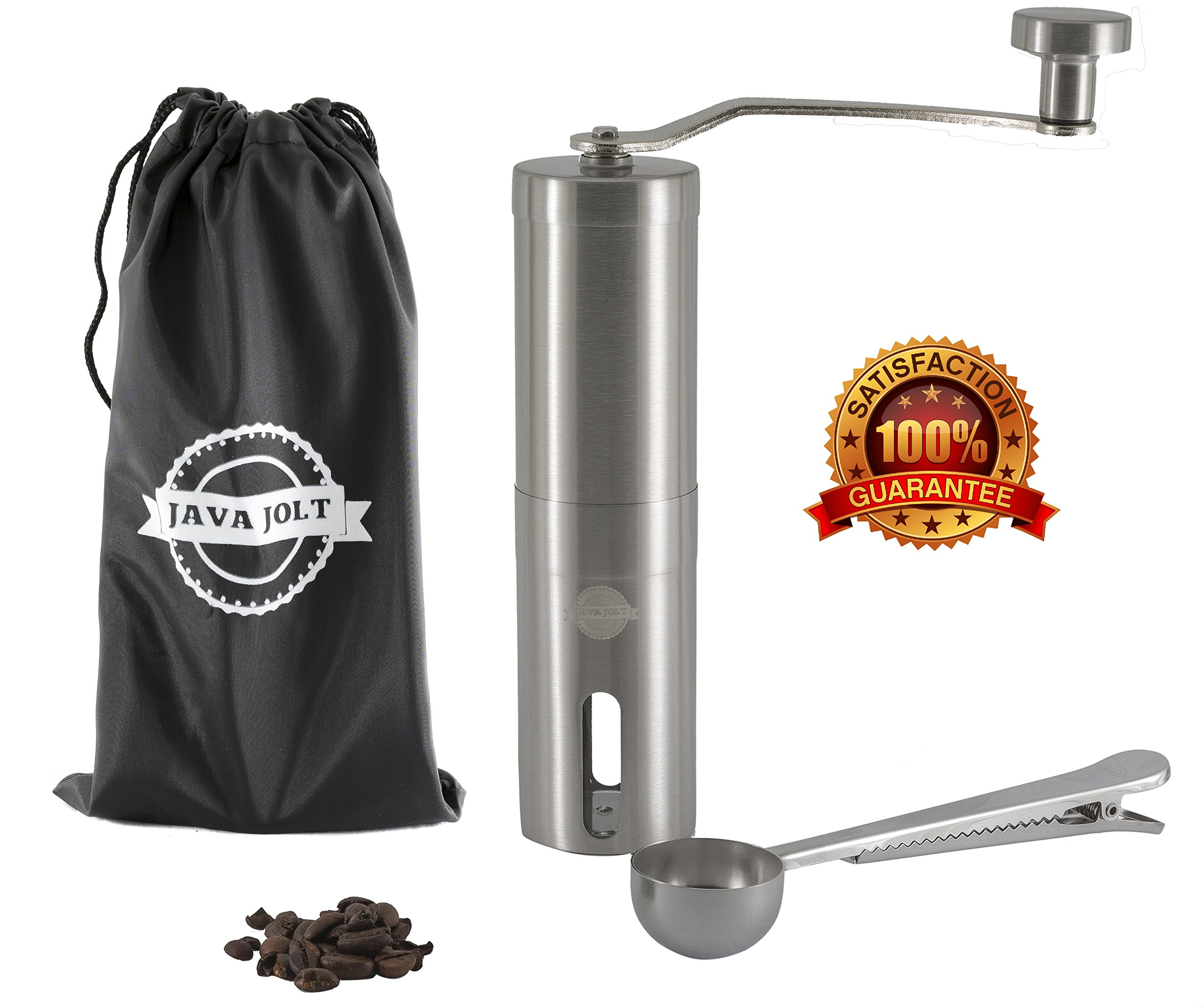 Manual Coffee Grinder By Java Jolt, Stainless Steel Mill: Adjustable Ceramic Conical Burr Premium Grinding Mill Includes Bonus Travel Pouch and Spoon Clip