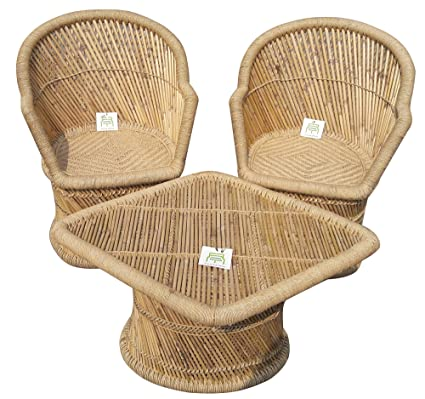 Ecowoodies Arbutus Handicraft Cane / Wooden Breakfast Kitchen Pub High Chair Table Chair Cane Furniture Set (2+1)