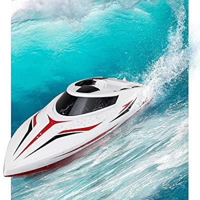 INTEY RC Boat, Double-Layor Waterproof 25km/h Remote Control Boat with Capsize Recovery for Kids, Teenagers and Adults(Include 2 Rechargeable Battery): Toys & Games