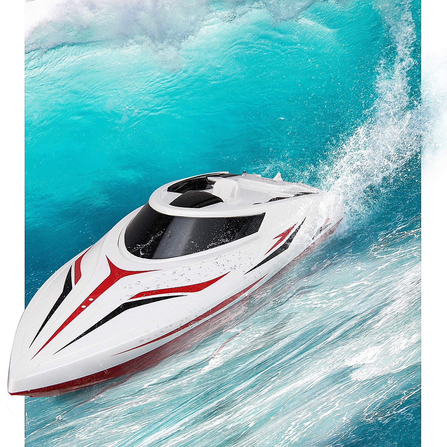 INTEY RC Racing Boats (25miles+) 17 Inches Large Double Waterproof Remote Control Speed Boat with Fine Tuning Capsize Recovery for Kids and Adults Contain 2 Batteries by INTEY