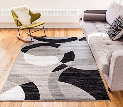 Well Woven Jackpot Grey Geometric Modern Casual Abstract Boxes Lines Circles 8×10 7 10 x 9 10 Area Rug Thick Soft Plush Shed Free