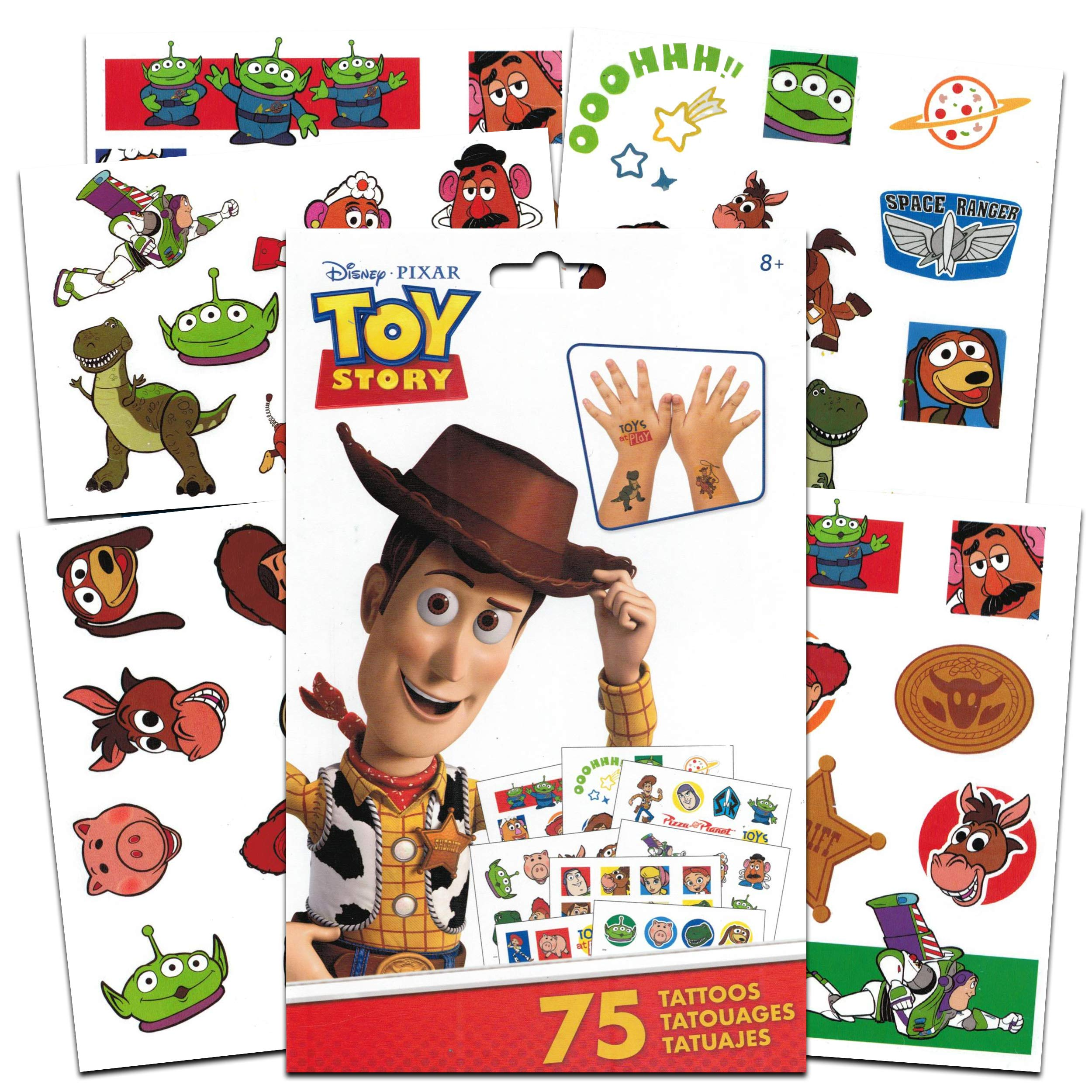 Disney Pixar Toy Story Tattoos Party Favors Pack ~ Bundle Includes 75 Toy Story Temporary Tattoos Tattoos (Toy Story Party Supplies)