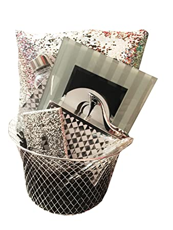 Amazon sparkle shine black and silver gift basket with sparkle shine black and silver gift basket with mermaid sequin pillow perfect ideas for negle Image collections