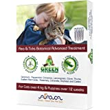Arava Flea and Tick Control Drops Treatment for Cats and Puppies, Safe for Kids, (4 Pack) - Botanical Drops Repel Pests with Natural Oils - Safe for Pets, Enhanced Defense & Prevention