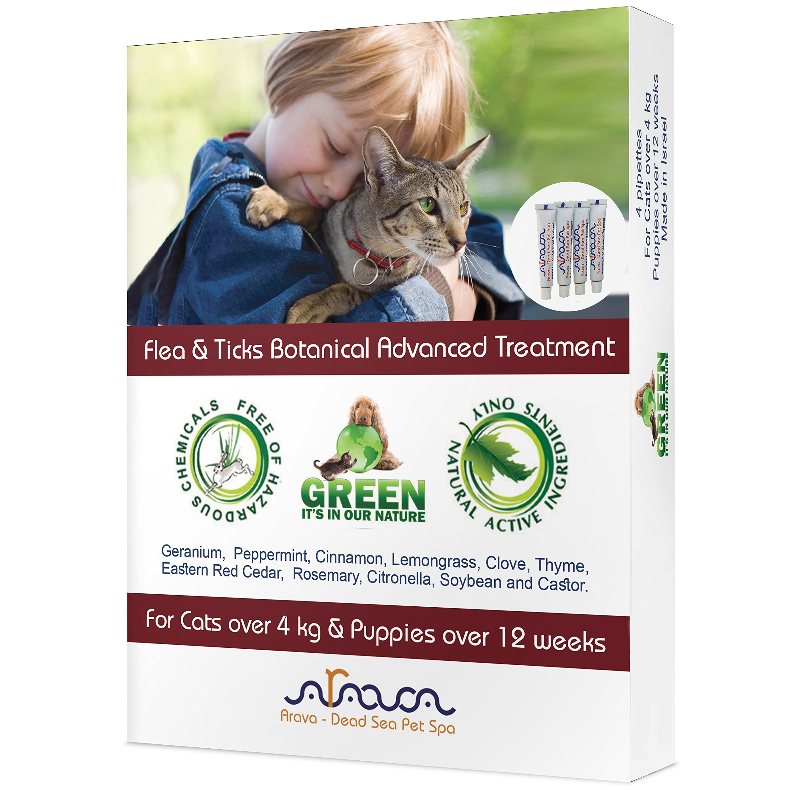 Arava Flea & Tick Control Drops - Treatment for Cats & Puppies - Safe for Kids - 4 Pack - Botanical Drops Repel Pests with Natural Oils - Safe for Pets - Enhanced Defense & Prevention (2 Variations)
