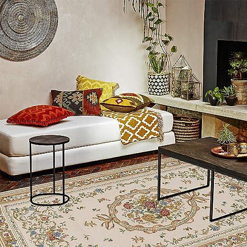 Luxury Area Rug 6.6 x 9.5FT Runner Soft Chenille Rustic Floral Area Rugs Elegant Jacquard Floor Rugs Carpet for Home Decor Living Room Bedroom