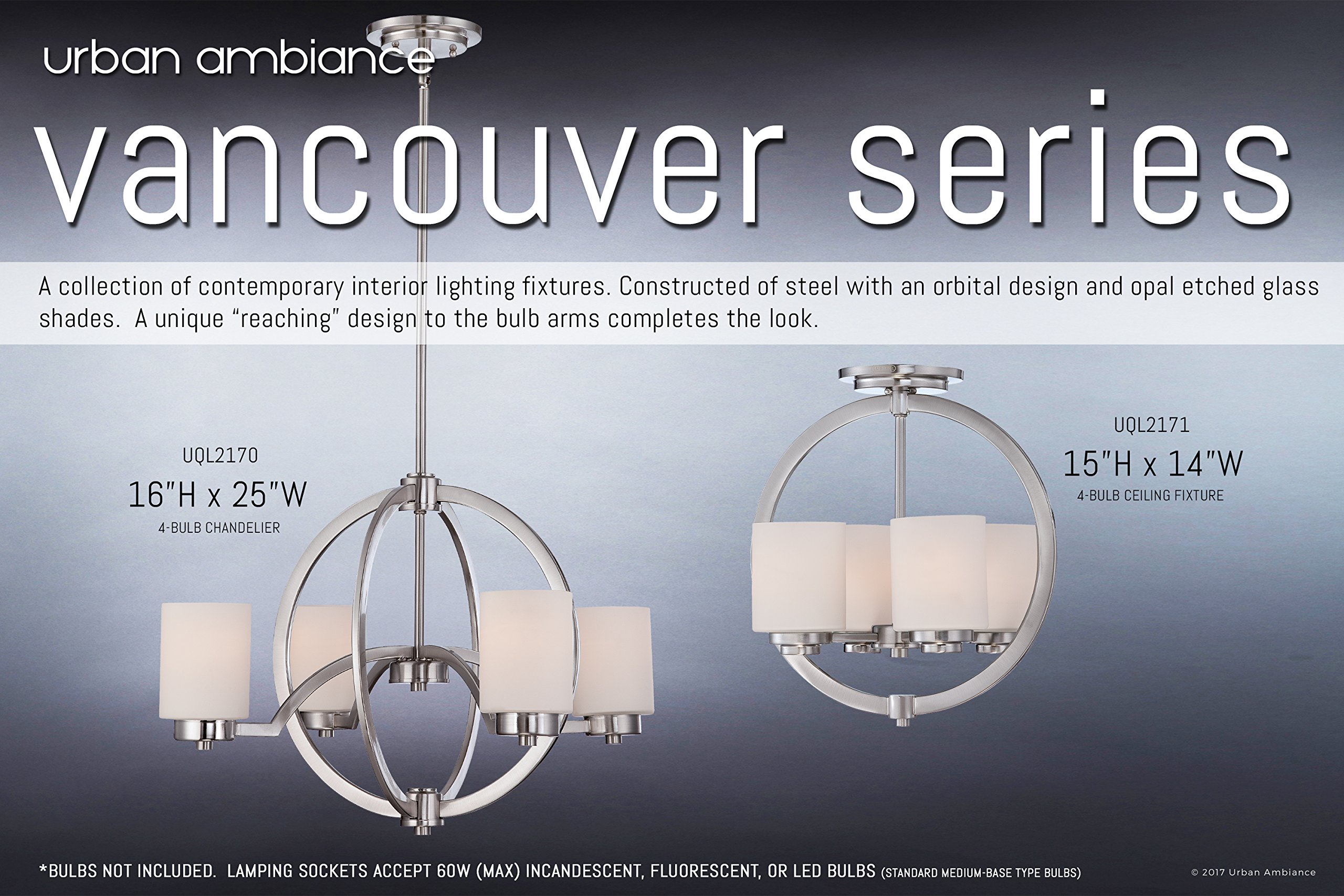 Luxury Contemporary Semi-Flush Ceiling Light, Medium Size: 15''H x 14''W, with Traditional Style Elements, Globe Design, Pretty Brushed Nickel Finish and Opal Etched Glass, UQL2171 by Urban Ambiance by Urban Ambiance (Image #1)