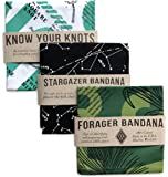 Colter Co. Survival Bandana 3 pack for Camping, Hiking, Fishing | 100% Cotton, Knot Tying Guide, Glow in the Dark Star Chart, Edible Plants Guide Prints, Made in the USA by